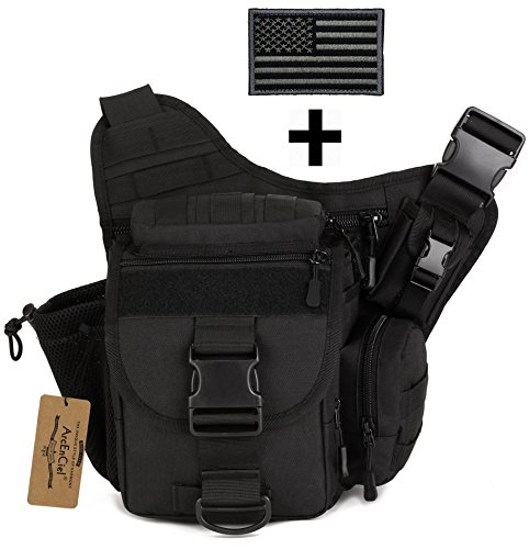 ArcEnCiel Strengthen Edition Outdoor Sacheted Professional Camera Messenger Slr Camera Multifunctional Men Bag Lightweight Durable with Patch (Black)