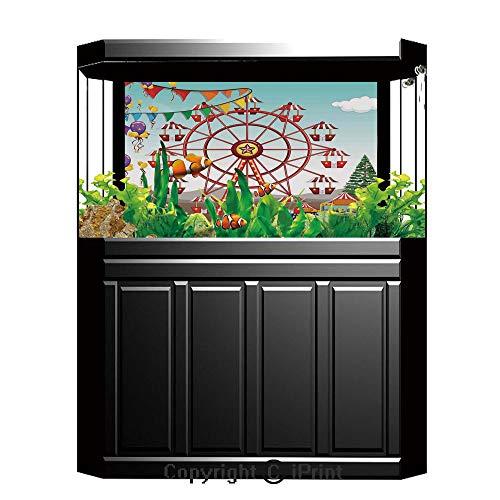 baihemiya sticker Aquarium Decoration Background,Circus Decor,Ferris Wheel at The Amusement Park Illustration Distant Hills Flower Pots,Photography Backdrop for Photo Props Room,W48.03 xH19.69 ()