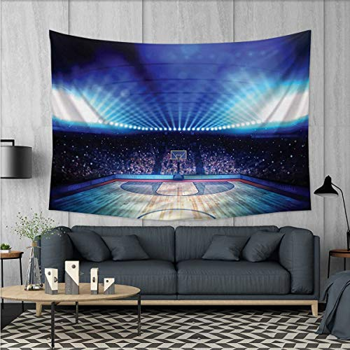 Court Ceiling Medallion (Anhuthree Basketball Tapestry Table Cover Bedspread Beach Towel Basketball Arena Court with Fans and Competition Theme Game Excitement Print Dorm Decor 71