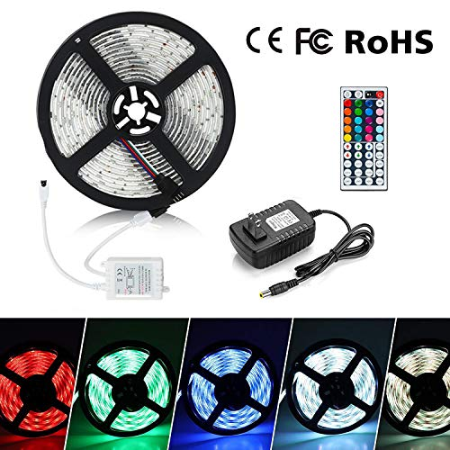 Eternal Home LED Strip Lights, 16.4ft 300LEDs Waterproof LED Strip Lights 3528 RGB Flexible Color Changing LED Light Strip with 44 Key IR Remote Controller 2A UL Power -