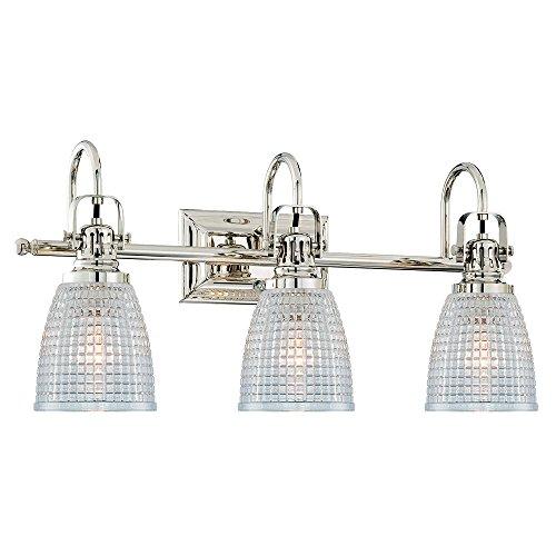 Langdon Mills Oakley 3-Light Polished Nickel Bathroom Vanity Light Fixture Beehive Glass Edison ()