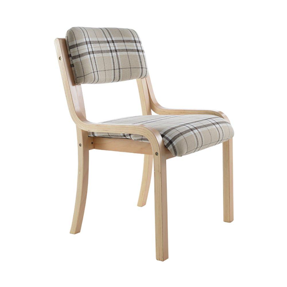 ZJMソリッドウッドのダイニングチェア低背の椅子格子の椅子背もたれの椅子 (色 : ベージュ, サイズ さいず : Set of 1) B07F9MTQRPベージュ Set of 1