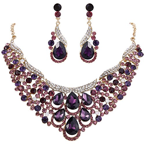 - EVER FAITH Women's Rhinestone Crystal Gorgeous Teardrop Wave Necklace Earrings Set Purple Gold-Tone