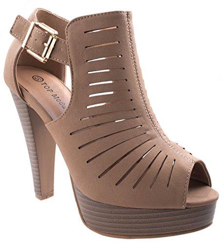 Moda Suede Heels (Top Moda Women's Table-6 Tan Peep Toe Gladiator Bootie Platform Sandal chunky heel closed back T-Strap 5.5 D(M) US)