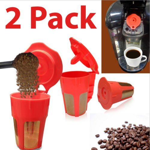New Refillable (New 2 Pack Keurig 2.0 Refillable K-Carafe Reusable Coffee Filter Replacement Orange)