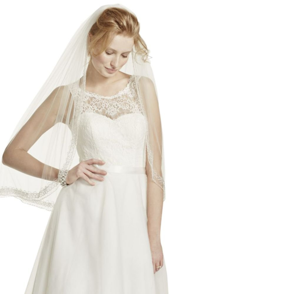 One Tier Mid Veil with Beaded Design Style V218, Ivory by David's Bridal