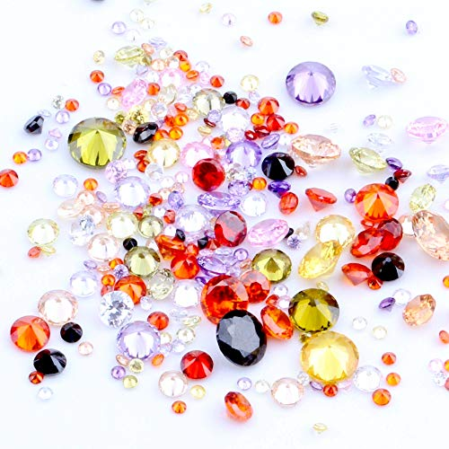200pcs 1mm-4mm Mix Size A Quality Round Brilliant Cut White Loose Cubic Zirconia CZ Stone Beads for Nails Ring Jewelry Decoration (00 Multicolor) from NIZI