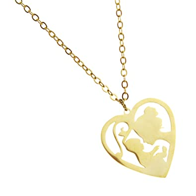 Mum Necklace Heart Laser Cut Mom Me Jewelry Mothers Day Gift Moms Birthday Gold Amazoncouk Jewellery