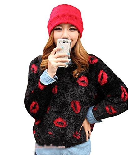 YOUJIA Sueter Tejido de Mujer Jerseys de Punto Mohair Mujeres Jersey Pullover Sueteres Tejidos Redondo Cuello Sueters Lip Impreso para Dama Negro Rojo