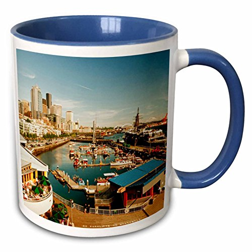 3dRose Danita Delimont - Seattle - USA, Washington, Seattle, Bell Street Pier - US48 RDU0473 - Richard Duval - 11oz Two-Tone Blue Mug (mug_148496_6)