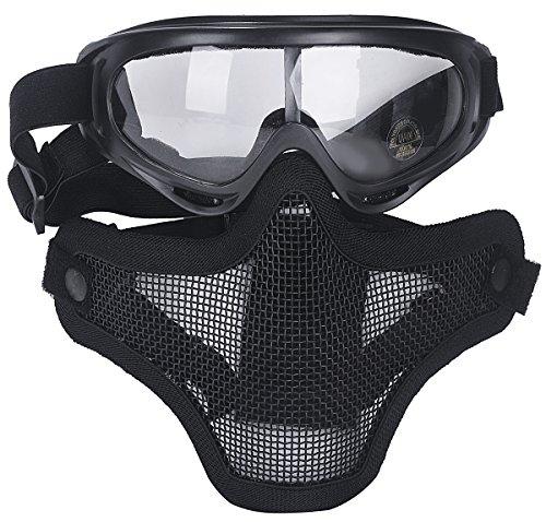 Coofit Halbe Maske Outdoor Maske 2 Set Stahlnetz und Schutzbrillen