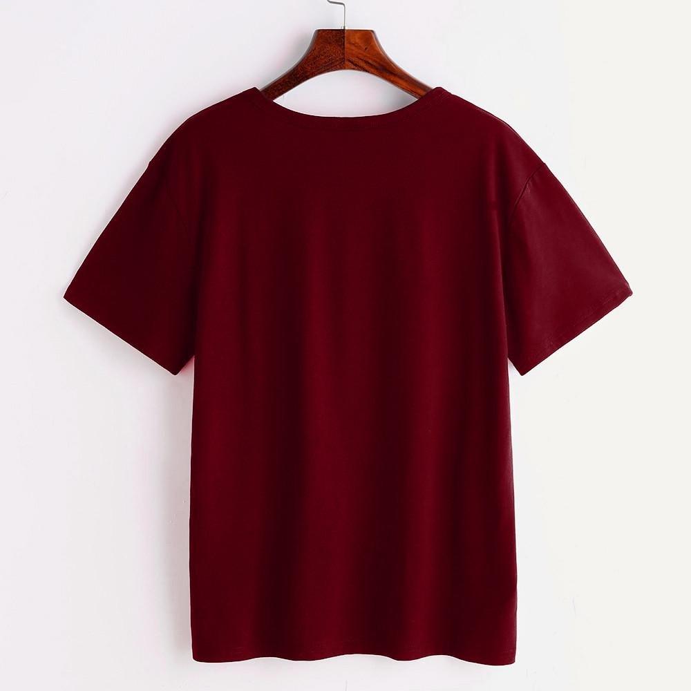 KanLin1986-Ropa Tops Camisetas Para Mujer,Casual Verano Camis Blusa Camisetas de Manga Corta Moda O Cuello Gato Impreso Tops Camisolas Para Mujeres (Vino, ...