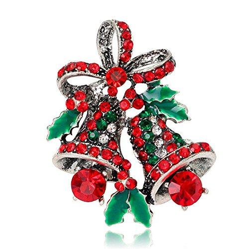 Christmas Crystal Pin Brooch Women Heart Small Bell Rhinestone Brooch Jewelry Du