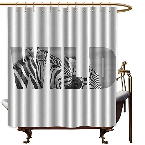 Shower Curtains Gray Zebra Print Decor Collection,Word Wild Over Zebras Picture Safari Animals Adventure Traveling Theme Art,Black White,W72 x L72,Shower Curtain for Small Shower stall (Zebra Footstool Print)