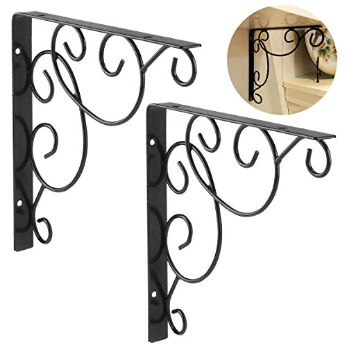 VORCOOL 2pcs Wall Mounted Floral Shelf Brackets with Screws - Black by VORCOOL