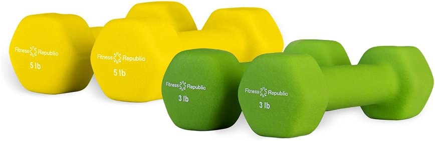 Fitness Republic Neoprene Dumbbell Pairs, Free Hand Weights Combos