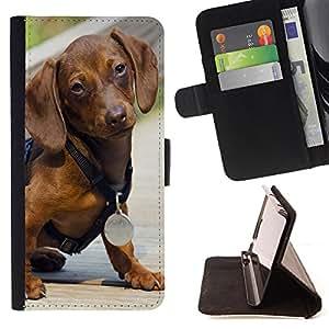 - Dog Cute Puppy Pet Paws/ Personalizada del estilo del dise???¡Ào de la PU Caso de encargo del cuero del tir????n del soporte d - Cao - For Sony Xperia Z3 D6603