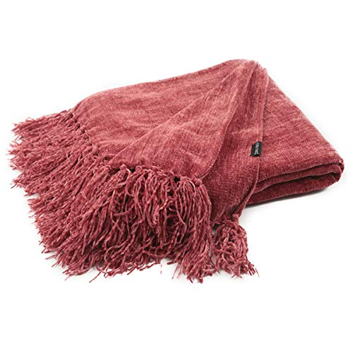 EverGrace Chenille Throw Blanket,Solid Color Sofa Couch Throws with Fringe, 100% Polyester, Super Soft Light-Weight, Warm Blankets for Home Decor, Camping, Traveling, Picnic, 50