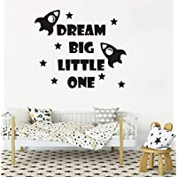 Quote Wall Decal, Dream Big Little One Decal, Baby Room Decor, Rocket Decal, Baby Boy Room Decor, Space Wall Decal, Nursery Wall Decals Y41