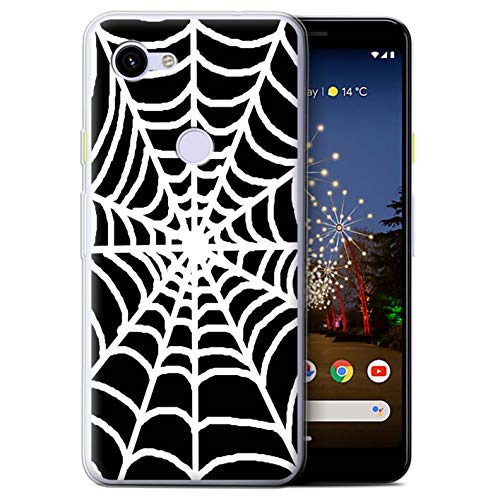 eSwish Gel TPU Phone Case/Cover for Google Pixel 3a / Spider Web Design/Black Fashion Collection