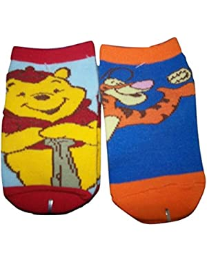 Baby Sock 2 Pack ~ 0-6 Months, Pooh & Tigger Playing Ball