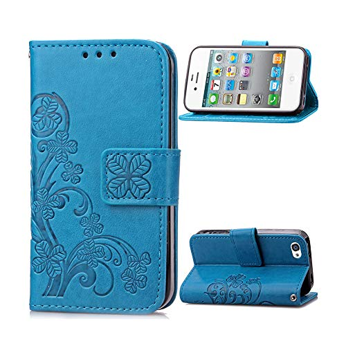 ne 4 Case, UDIKEFO Embossed PU Leather Magnetic Flip Cover Card Holders & Hand Strap Wallet Purse Case for Apple iPhone 4S / iPhone 4 Phone Cases for Girls ()