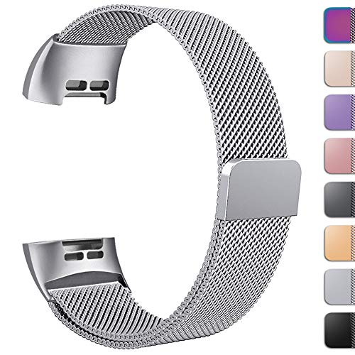 GEAK Replacement Compatible Fitbit Charge 3 Bands /Charge3 SE Metal Bands for Women Men, Premium Stainless Steel Loop with Magnetic Lock Accessories Bands for Fitbit Charge3, Large Silver