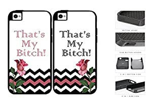 That's My B*tch Pink Rose And Chevron Set 2-Piece Dual Layer High Impact pc Silicone Cell Phone Case Apple iPhone 4 4s