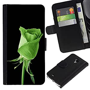 // PHONE CASE GIFT // Moda Estuche Funda de Cuero Billetera Tarjeta de crédito dinero bolsa Cubierta de proteccion Caso Samsung Galaxy S4 Mini i9190 / GREEN ROSE NATURE /