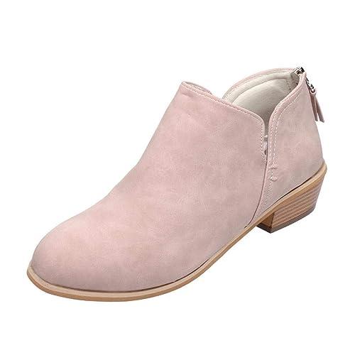 Hafiot Chelsea Boots Damen Ankle Stiefeletten Kurzschaft Wildleder Leder mit Absatz Kurze Reissverschluss 2.5cm Winter Stiefel