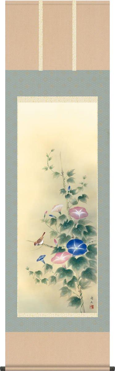 夏掛 掛け軸-朝顔/高見蘭石(尺五)床の間 和室 モダン お洒落 日本画 1A3-002 表装 壁掛け 吊るし インテリア B07BC9CDHG