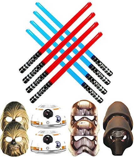 [Star Wars Battling Party Pack - 8 Party Masks (2 Captain Phasma - 2 Chewbacca - 2 Kylo Ren And 2 BB-8) & 8 Blow Up Red and Blue Lightsabers (4 Red & 4] (Real Fx Masks)