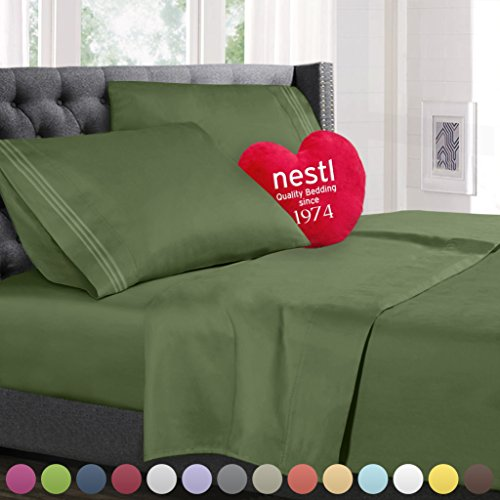 Full Size Bed Sheets Set Calla Green, Highest Quality Bedding Sheets Set on Amazon, 4-Piece Bed  ...