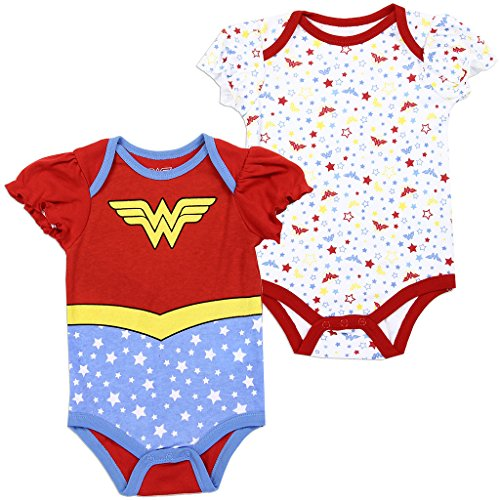 Wonder Woman DC Comics Baby Girls Creeper 2-Pack, Red/Blue (3/6M)]()