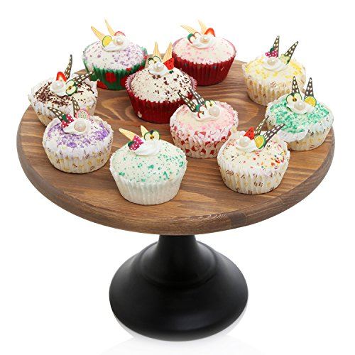 12-Inch Round Wooden Cake and Dessert Pedestal Display Stand with Black Base
