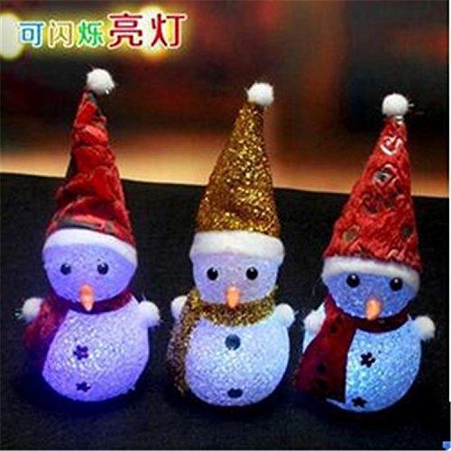 Snowman Tealight Lamp - 2PCS Set Color Changing Crystal Romantic Christmas Decoration LED Night Light Lamp Battery Xmas Holloween Party Decor (Crystal Snowman)
