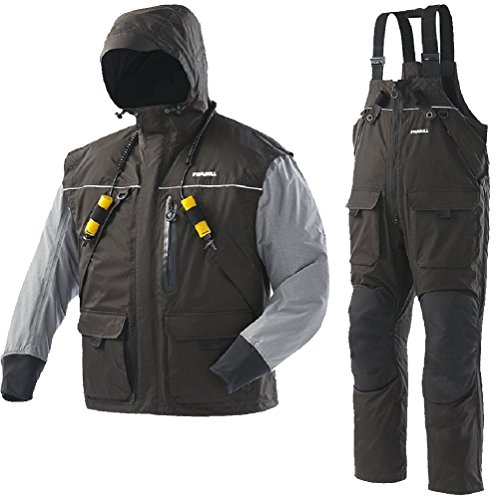Frabill I2 Waterproof Insulated Jacket & Pant Rain Suit - Black (XX-Large) (Ice Suit)