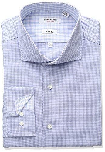 isaac-mizrahi-mens-slim-fit-micro-check-cut-away-collar-dress-shirt-royal-155-neck-32-33-sleeve