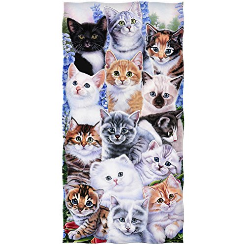 Dawhud Direct Kitten Collage Cotton Beach Towel by Jenny Newland]()