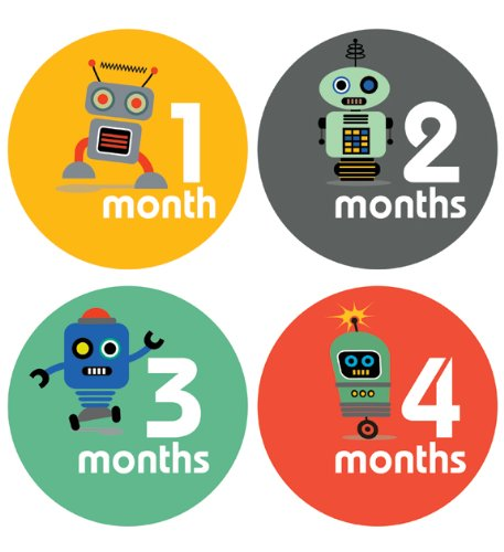 Lucy Darling Shop Monthly Baby Stickers - Baby Boy - Little Robot - Months 1-12