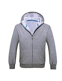 XILALU Men Sport Zip Fleece Warm Hooded Long Sleeve Pocket Casual Jacket Coat