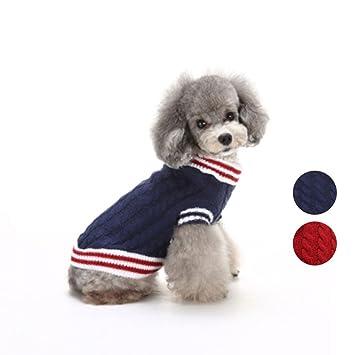 2 Patrones de punto clásico suéter de perro, prendas de punto ropa de animales de