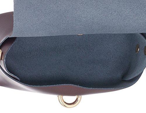 Laura Moretti - Bolso piel con cierre de cinturón (tamaño pequeño) estilo BANDOLERA o MINIBOLSO Metallic bordo