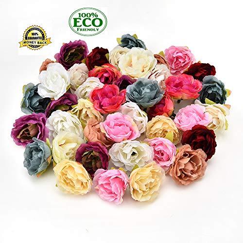 silk flowers in bulk wholesale Fake Flowers Heads Artificial Silk Rose Flower Head Decorative Flower Heads for Home Garden Wedding Birthday Party Decoration Supplies 30PCS 4cm(Multicolor) ()