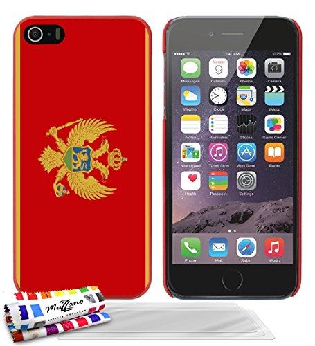 Ultraflache weiche Schutzhülle APPLE IPHONE 5 [Flagge Montenegro] [Rot] von MUZZANO + 3 Display-Schutzfolien UltraClear + STIFT und MICROFASERTUCH MUZZANO® GRATIS - Das ULTIMATIVE, ELEGANTE UND LANGLE