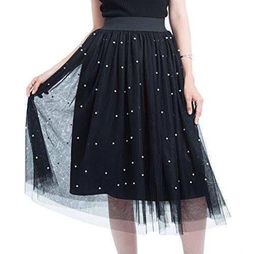 pour Princesse Femme Varies en Marige Perles Noir Couleurs WangsCanis Jupe avec Longue Tulle Jupon Soires Anniversaire Fn4wAP