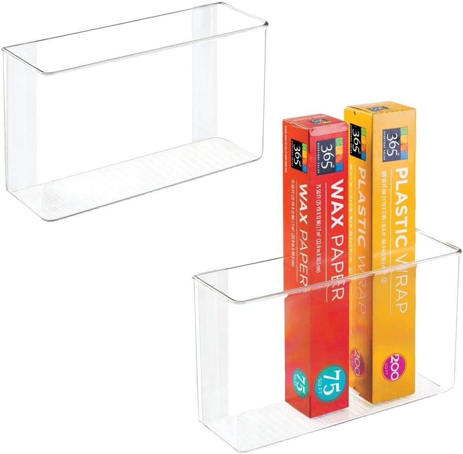"""mDesign Modern Plastic Adhesive Cabinet and Wall Mount Storage Organizer Bin for Boxed Sandwich Bags, Plastic Wrap, Aluminum Foil, Parchment/Wax Paper, 2 Pack, 3.5"""" x 11"""" x 6.5"""" - Clear"""