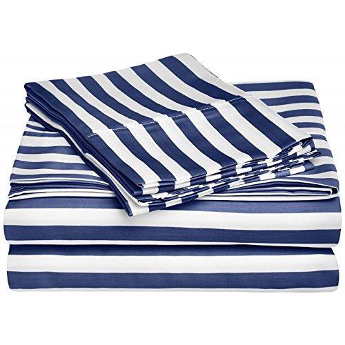 eLuxurySupply 600 Thread Count Cotton Rich Cabana Kids Stripe Sheet Set - Twin XL - Navy Blue