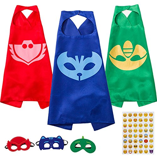 PJ Masks Costume Kids Toys Halloween Party Makeup-Owlette Catboy & Gekko 3 Cape and Mask - Makeup Only Halloween Costumes
