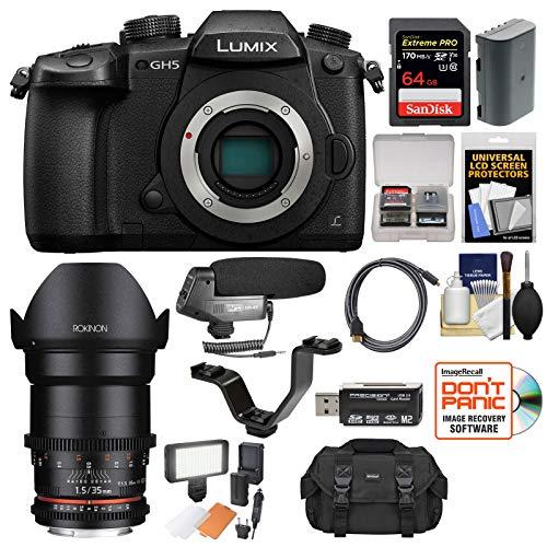 Panasonic Lumix DC-GH5 Wi-Fi 4K Digital Camera Body with 35mm T/1.5 Cine...